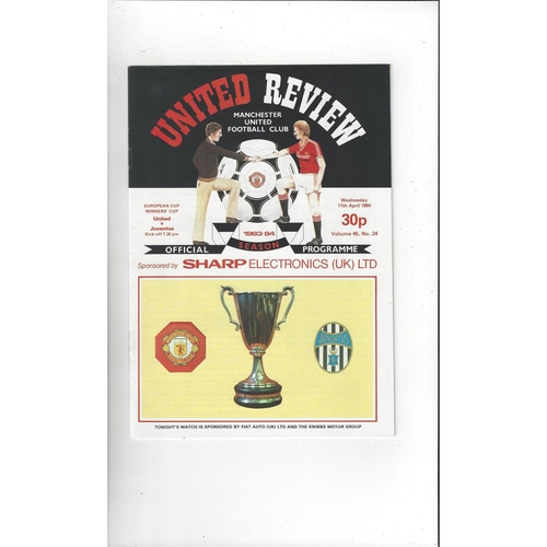 1984 Manchester United v Juventus European Cup Winners Cup Semi Final Football Programme