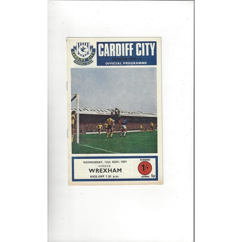 1971 Cardiff City v Wrexham Welsh Cup Final Football Programme