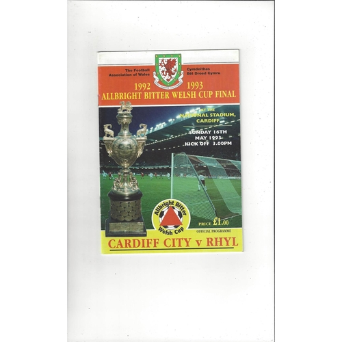 1993 Cardiff City v Rhyl Welsh Cup Final Football Programme