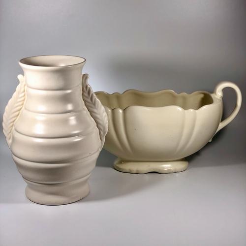Large Art Deco creamware pottery vase