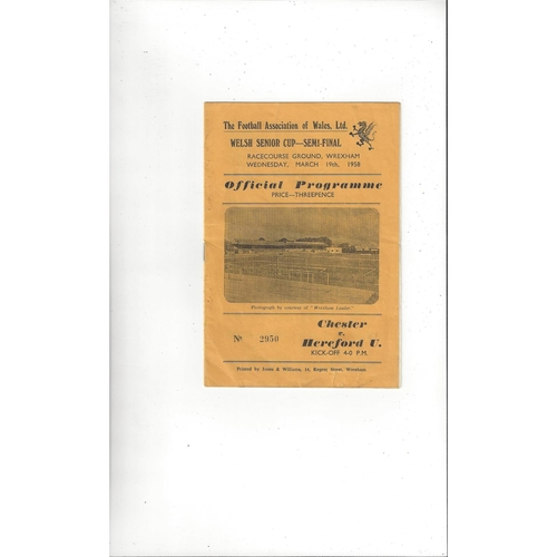 1957/58 Chester v Hereford United Welsh Cup Semi Final Football Programme @ Wrexham