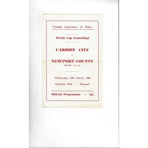 1966/67 Cardiff City v Newport County Welsh Cup Semi Final Football Programme