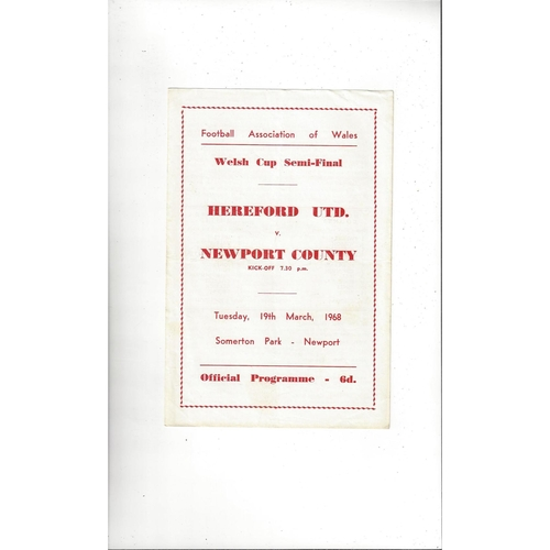 1967/68 Hereford United v Newport County Welsh Cup Semi Final Football Programme