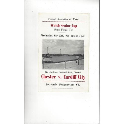 1967/68 Chester v Cardiff City Welsh Cup Semi Final Football Programme