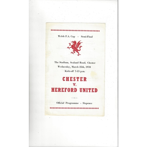 1969/70 Chester v Hereford United Welsh Cup Semi Final Football Programme