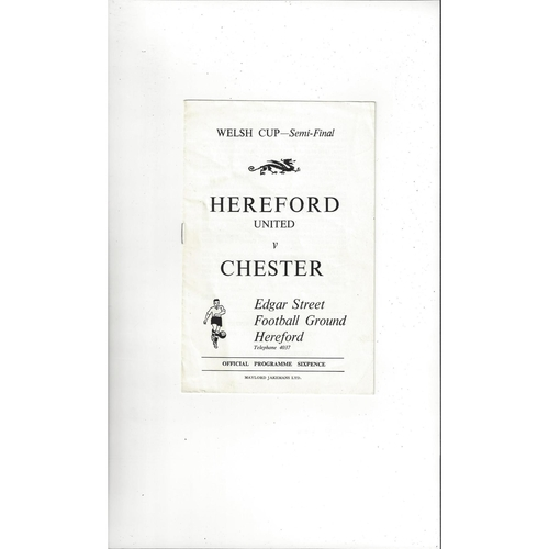 1969/70 Hereford United v Chester Welsh Cup Semi Final Football Programme