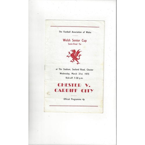 1972/73 Chester v Cardiff City Welsh Cup Semi Final Football Programme