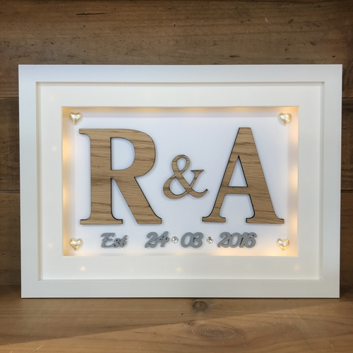 Framed oak initials