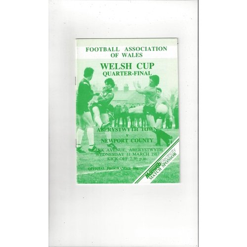 Aberystwyth Town v Newport County Welsh Cup Football Programme 1986/87