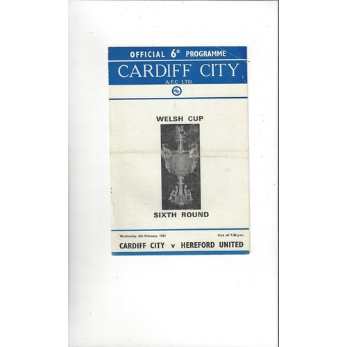 Cardiff City v Hereford United Welsh Cup Football Programme 1966/67