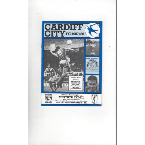 Cardiff City v Merthyr Tydfil Welsh Cup Football Programme 1987/88