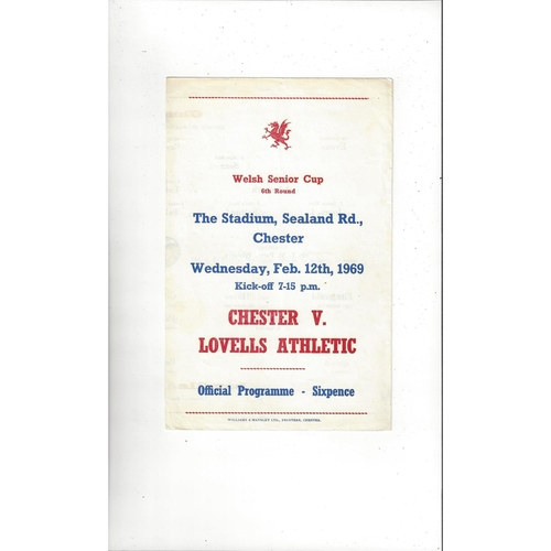 Chester v Lovells Athletic Welsh Cup Football Programme 1968/69