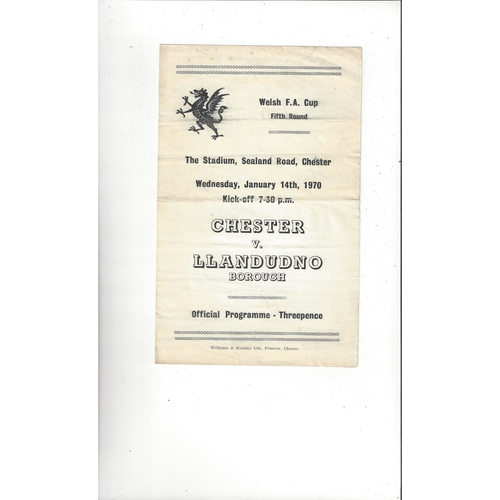 Chester v Llandudno Welsh Cup Football Programme 1969/70