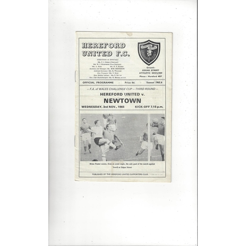 Hereford United v Newtown Welsh Cup Football Programme 1965/66