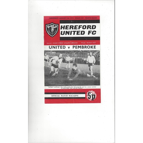 Hereford United v Pembroke Welsh Cup Football Programme 1972/73