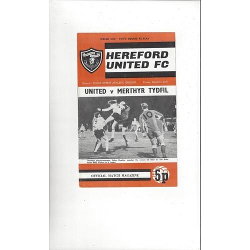 Hereford United v Merthyr Tydfil Welsh Cup Replay Football Programme 1972/73