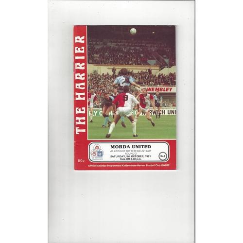 Kidderminster Harriers v Morda United Welsh Cup Football Programme 1991/92