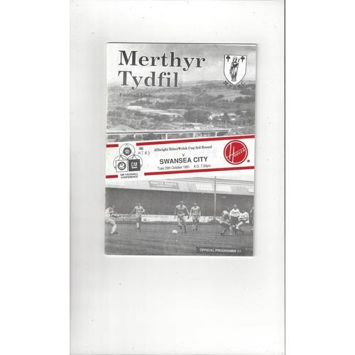 Merthyr Tydfil v Swansea Welsh Cup Football Programme 1991/92