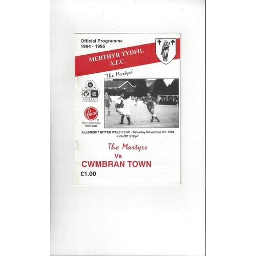 Merthyr Tydfil v Cwmbran Town Welsh Cup Football Programme 1994/95
