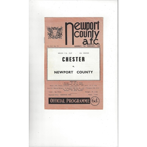 Newport County v Chester Welsh Cup Football Programme 1965/66