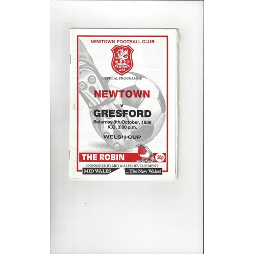 Newtown v Gresford Welsh Cup Football Programme 1988/89