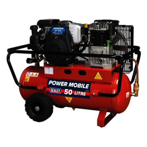 Compressor 50ltr Belt Drive Petrol Engine 4hp - Sealey - SA5040