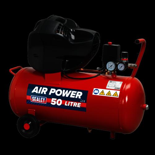 Compressor 50ltr V-Twin Belt Drive 3hp Oil Free - Sealey - SAC05030F