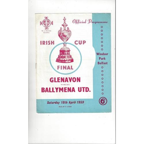 1959 Glenavon v Ballymena United Irish Cup Final Football Programme