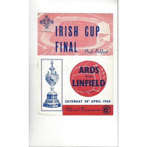 1960 Ards v Linfield Irish Cup Final Football Programme