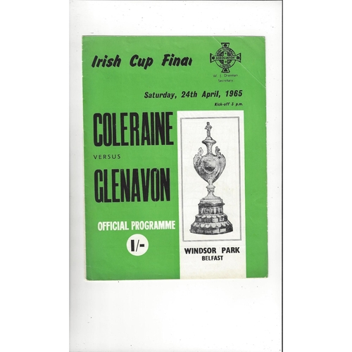 1965 Coleraine v Glenavon Irish Cup Final Football Programme