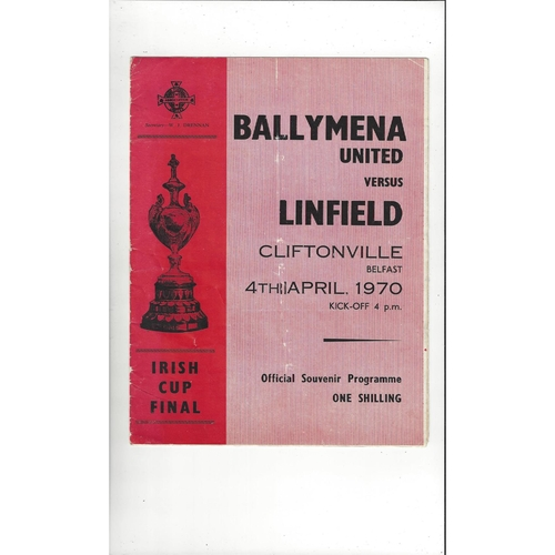 1970 Ballymena United v Linfield Irish Cup Final Football Programme
