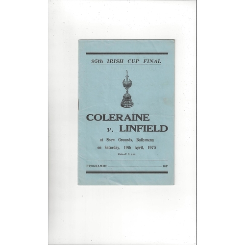 1975 Coleraine v Linfield Irish Cup Final Football Programme