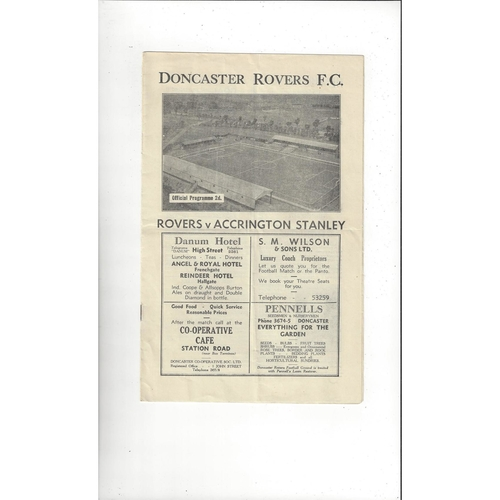 1946/47 Doncaster Rovers v Accrington Stanley Football Programme