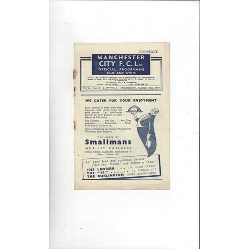1949/50 Manchester City v Portsmouth Football Programme