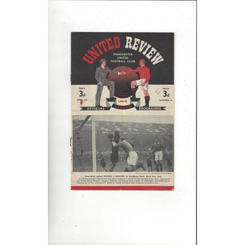 1948/49 Manchester United v Chelsea Football Programme