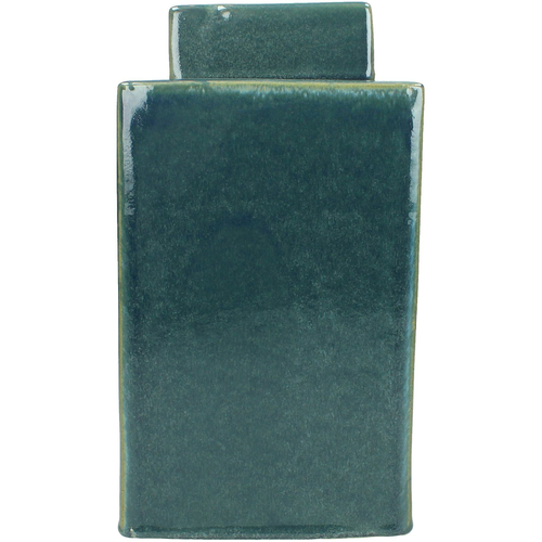 Blue Stoneware Lidded Square Jar
