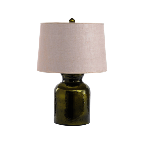Olive Green Bottle Table Lamp With Natural Linen Shade