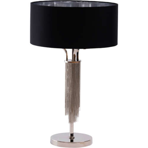 Langan Table Lamp In Nickle With Black Shade