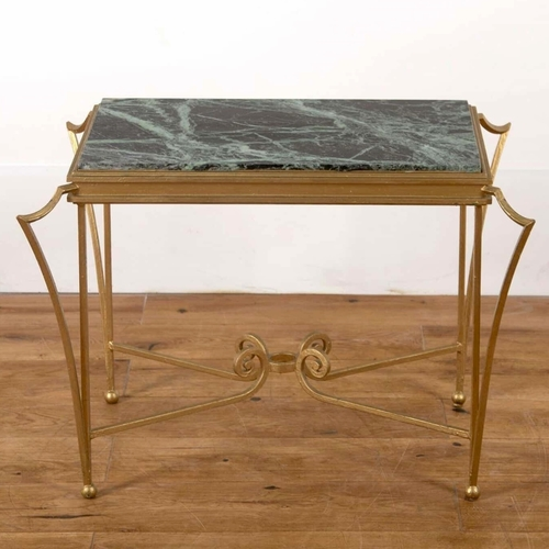 Mid Century green marble side table