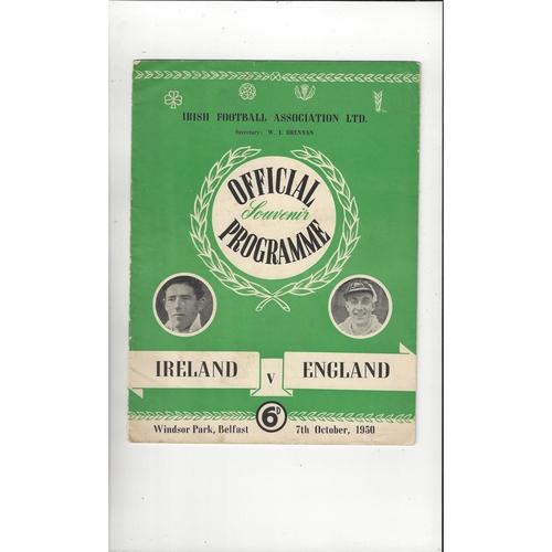 1950 Northern Ireland v England Football Programme Oct.