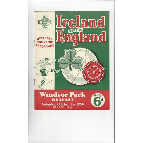 1954 Northern Ireland v England Football Programme