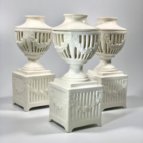 Creamware garniture set of table flower holders