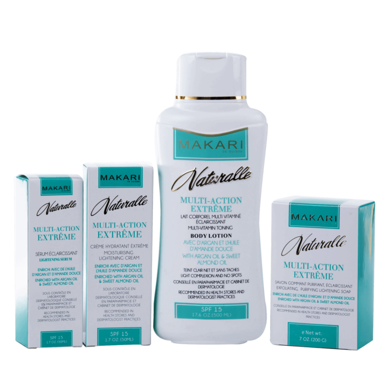 Makari Naturalle Multi-Action Extreme Body set. Soap, 2 Face Cream and Lotion
