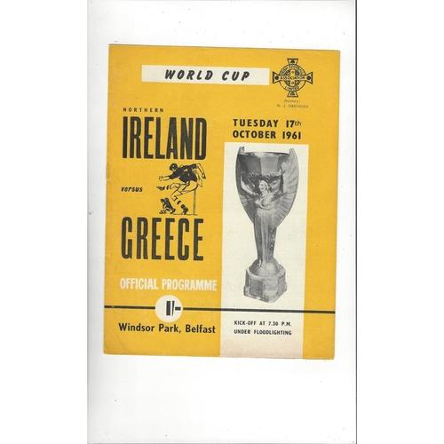 1961 Northern Ireland v Greece Football Programme
