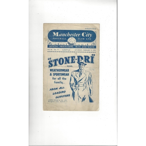 1951/52 Manchester City v Blackpool Football Programme