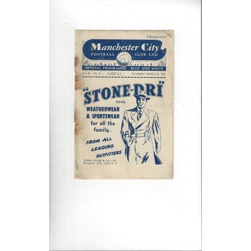 1951/52 Manchester City v Fulham Football Programme