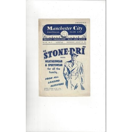 1951/52 Manchester City v Huddersfield Town Football Programme