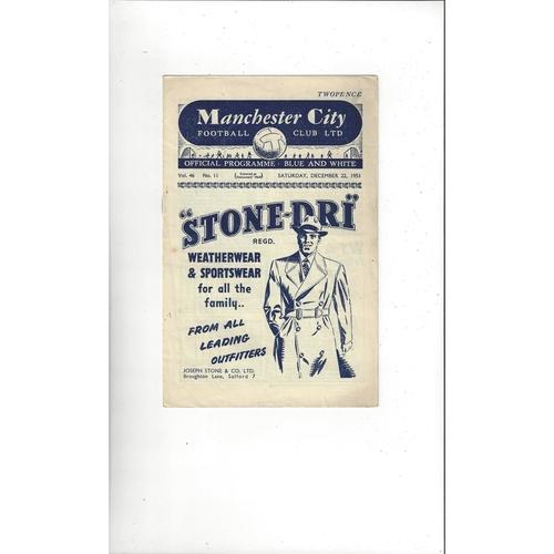 1951/52 Manchester City v Sunderland Football Programme