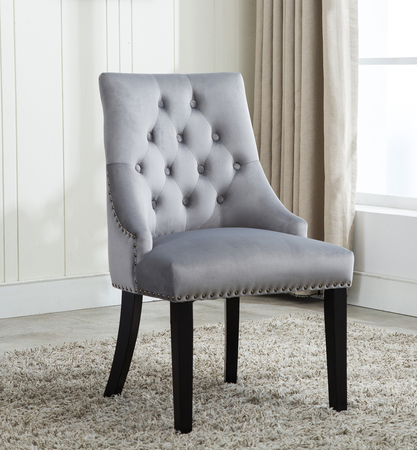 Victoria Tufted Velvet Fabric Studded Accent Dining Chair