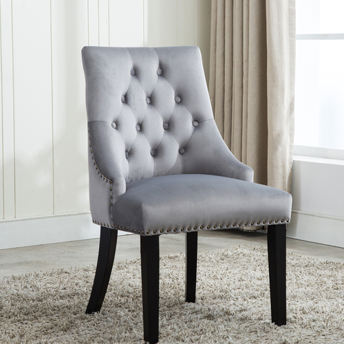 Victoria Tufted Velvet Fabric Studded Accent Dining Chair (Grey)